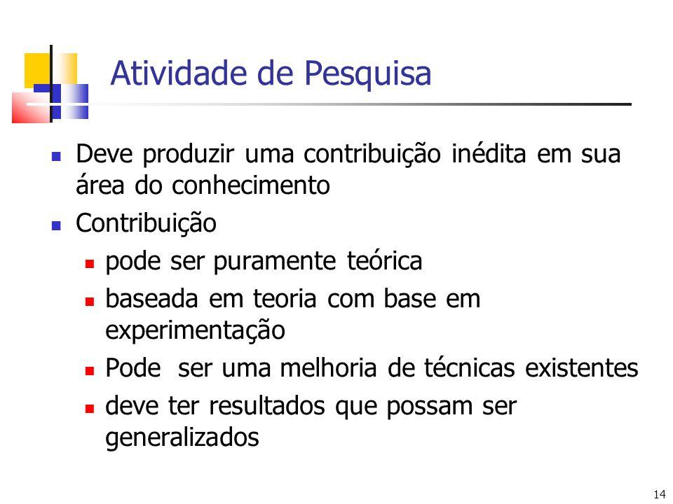 Atividade de Pesquisa Deve produzir uma contribuição inédita em sua área do conhecimento. Contribuição.