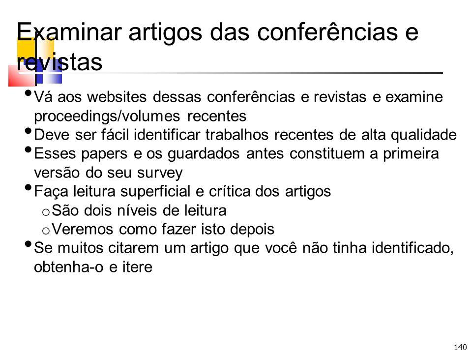 Examinar artigos das conferências e revistas