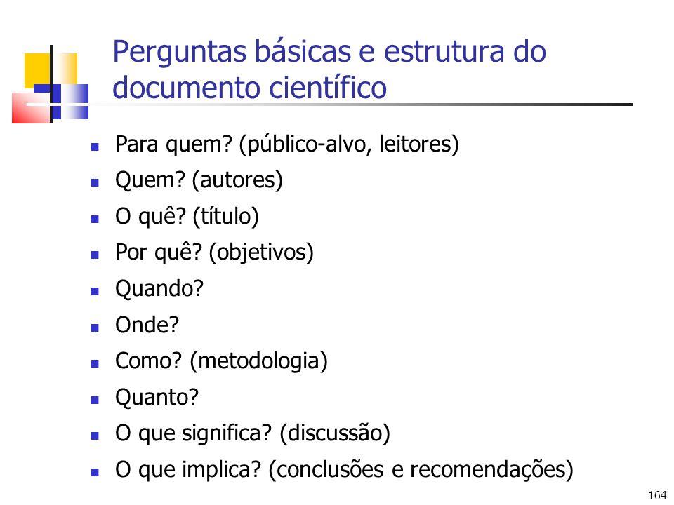 Perguntas básicas e estrutura do documento científico