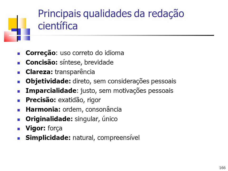 Principais qualidades da redação científica