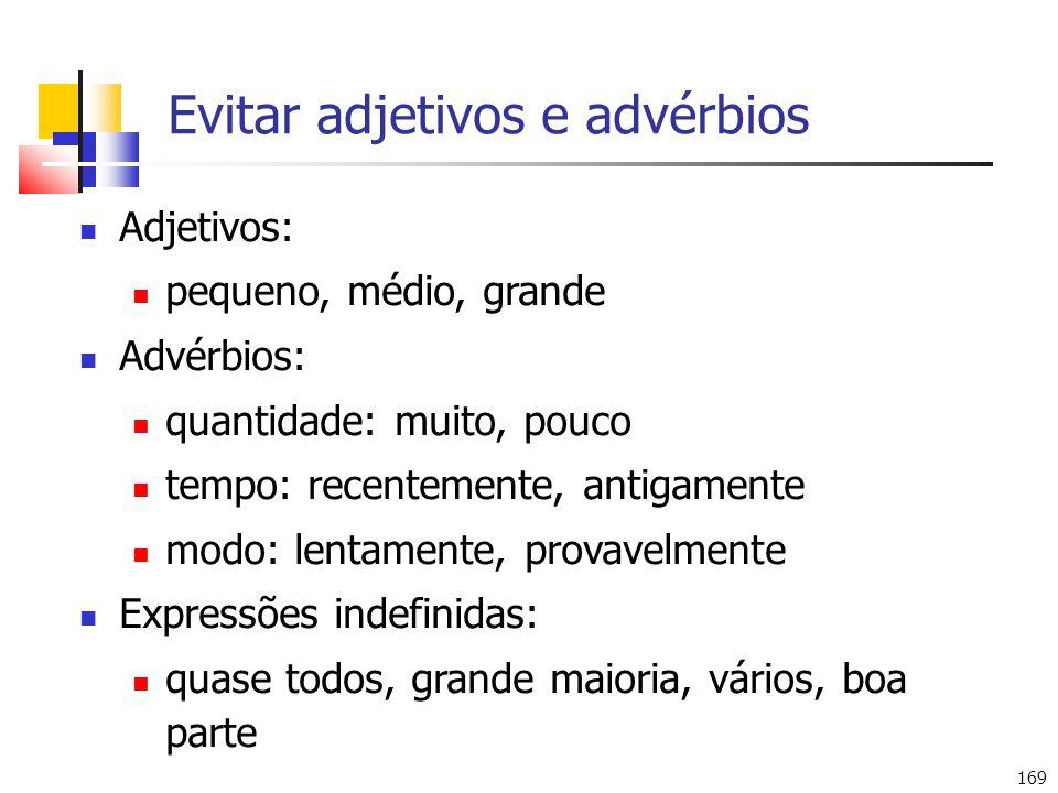 Evitar adjetivos e advérbios