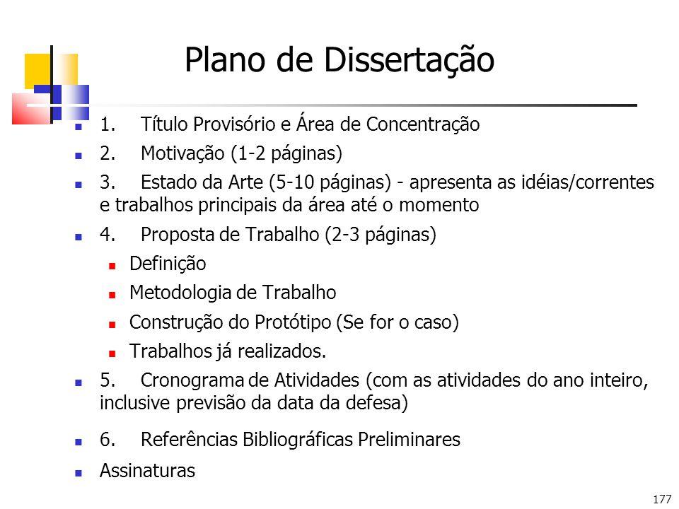 Plano de Dissertação 1. Título Provisório e Área de Concentração
