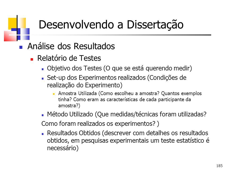 Desenvolvendo a Dissertação