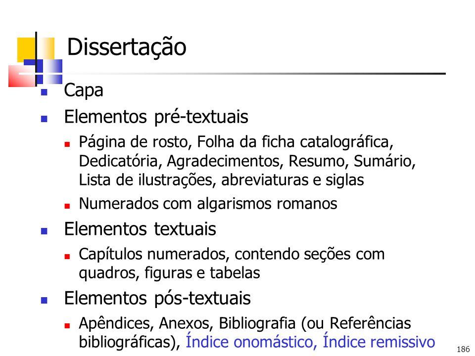 Dissertação Capa Elementos pré-textuais Elementos textuais