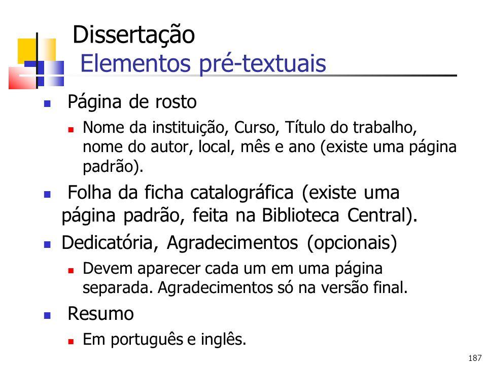 Dissertação Elementos pré-textuais