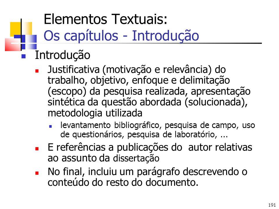Elementos Textuais: Os capítulos - Introdução