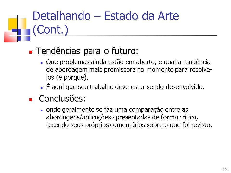 Detalhando – Estado da Arte (Cont.)