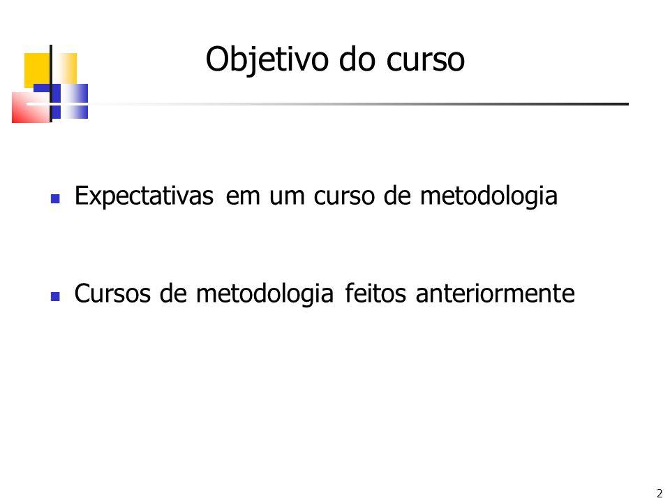 Objetivo do curso Expectativas em um curso de metodologia