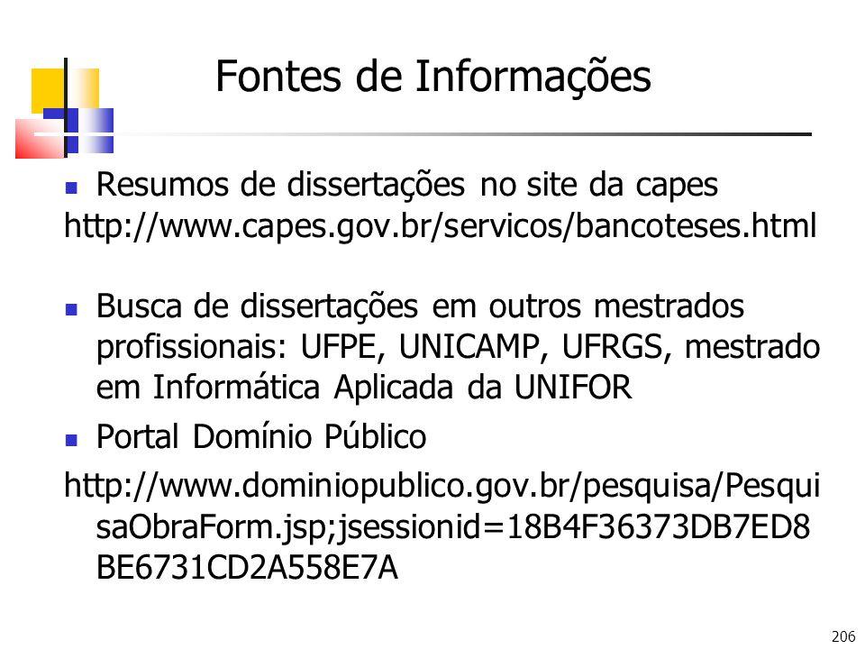 Fontes de Informações Resumos de dissertações no site da capes