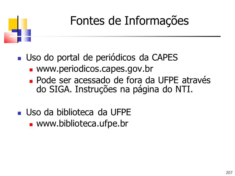 Fontes de Informações Uso do portal de periódicos da CAPES