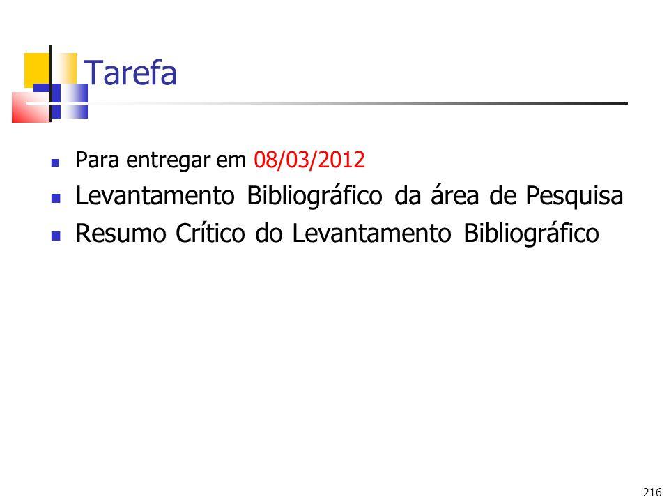 Tarefa Levantamento Bibliográfico da área de Pesquisa