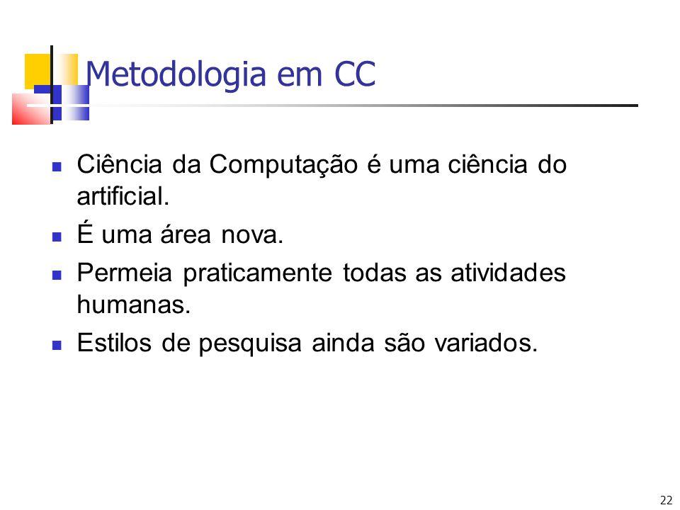 Metodologia em CC Ciência da Computação é uma ciência do artificial.