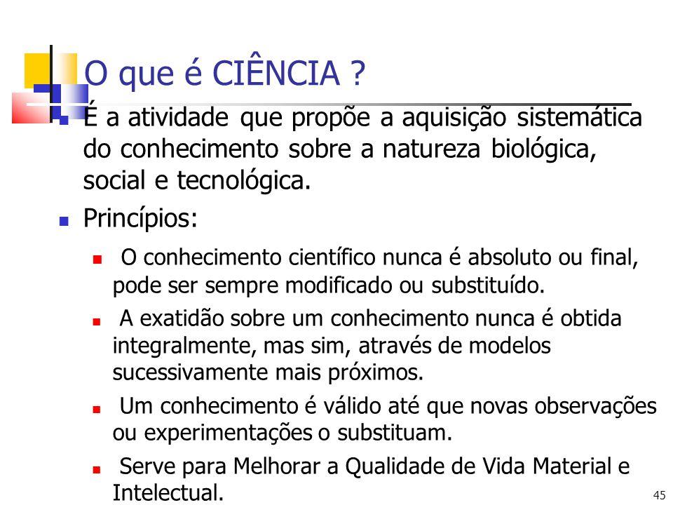 O que é CIÊNCIA É a atividade que propõe a aquisição sistemática do conhecimento sobre a natureza biológica, social e tecnológica.