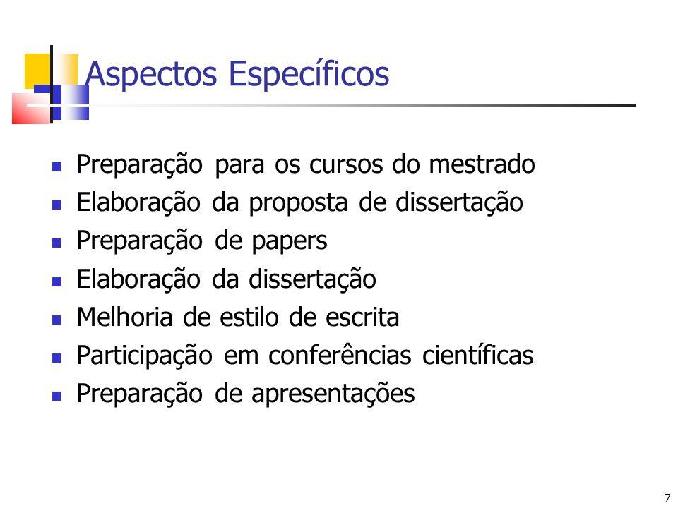 Aspectos Específicos Preparação para os cursos do mestrado
