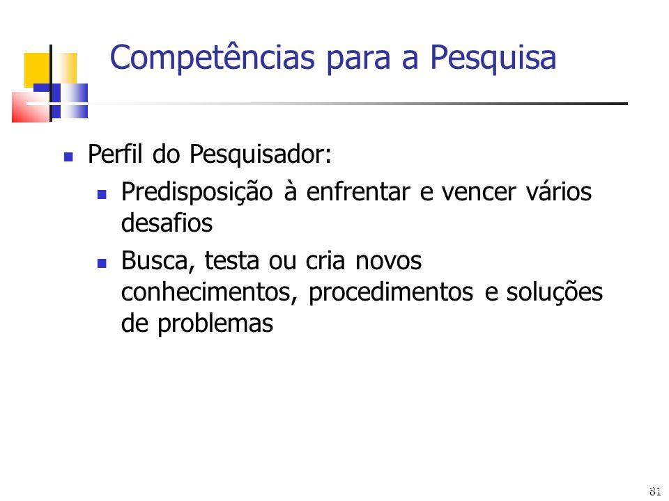 Competências para a Pesquisa