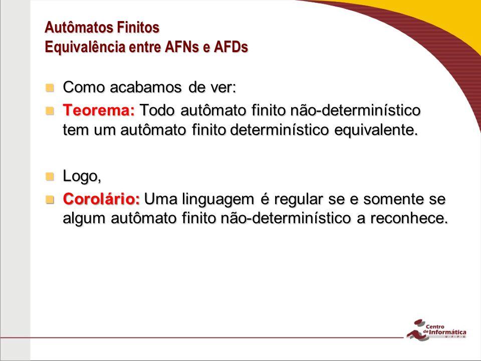 Autômatos Finitos Equivalência entre AFNs e AFDs