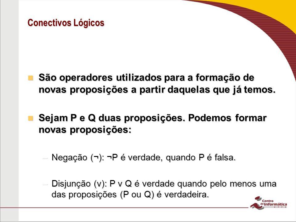 Sejam P e Q duas proposições. Podemos formar novas proposições: