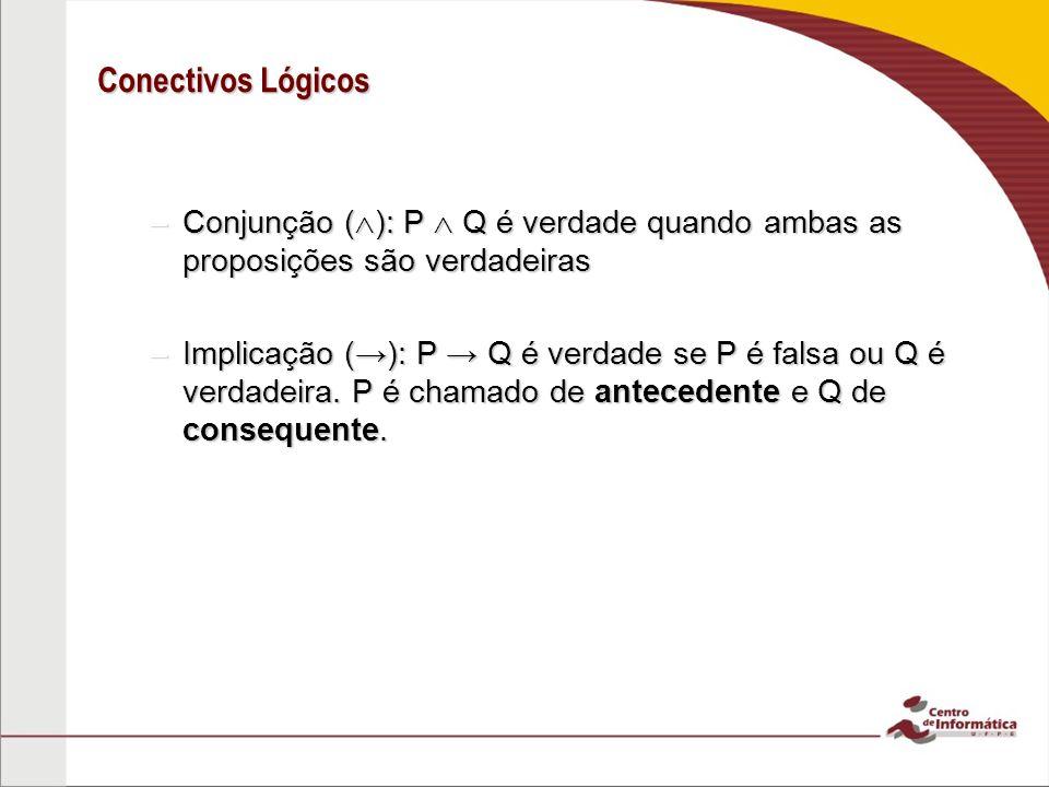 Conectivos Lógicos Conjunção (): P  Q é verdade quando ambas as proposições são verdadeiras.