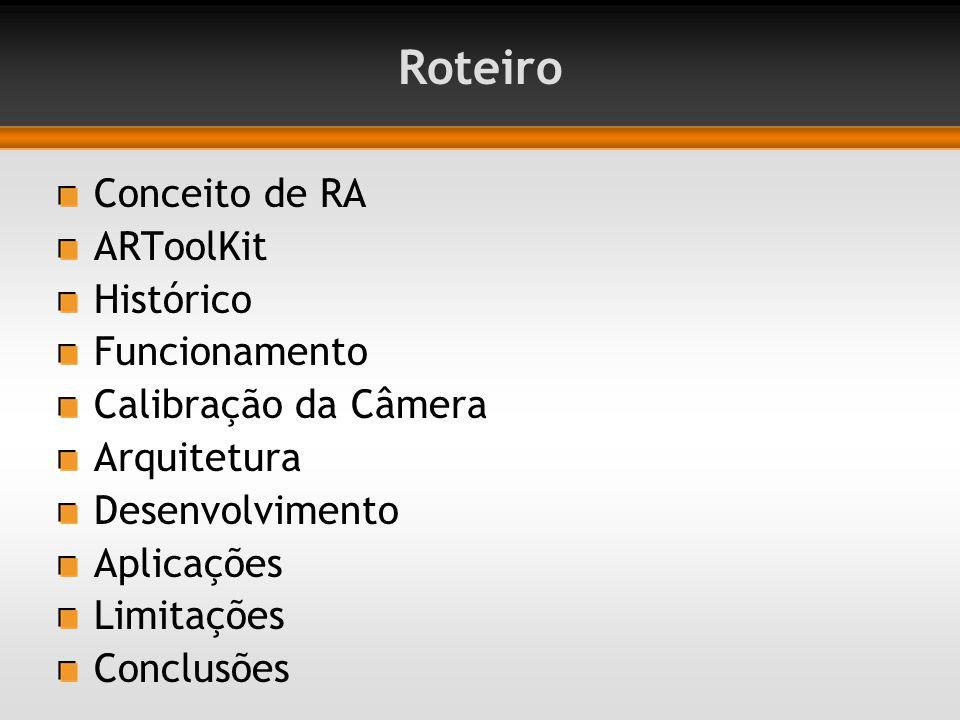 Roteiro Conceito de RA ARToolKit Histórico Funcionamento