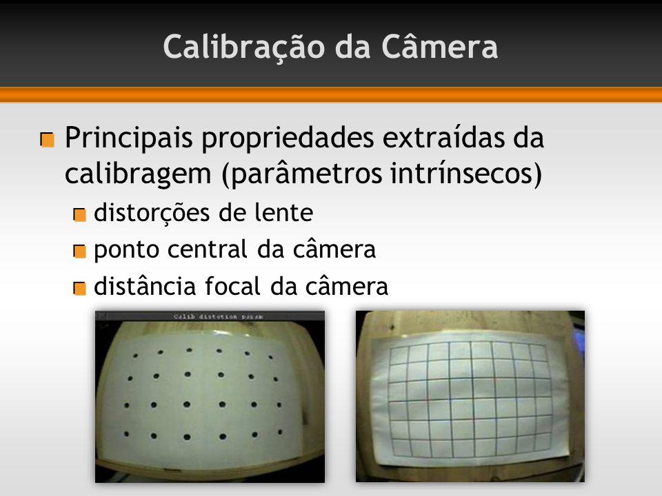 Calibração da Câmera Principais propriedades extraídas da calibragem (parâmetros intrínsecos) distorções de lente.