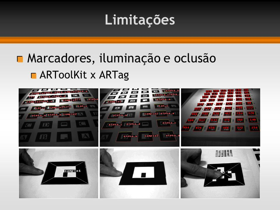 Limitações Marcadores, iluminação e oclusão ARToolKit x ARTag