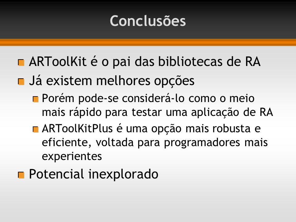 Conclusões ARToolKit é o pai das bibliotecas de RA