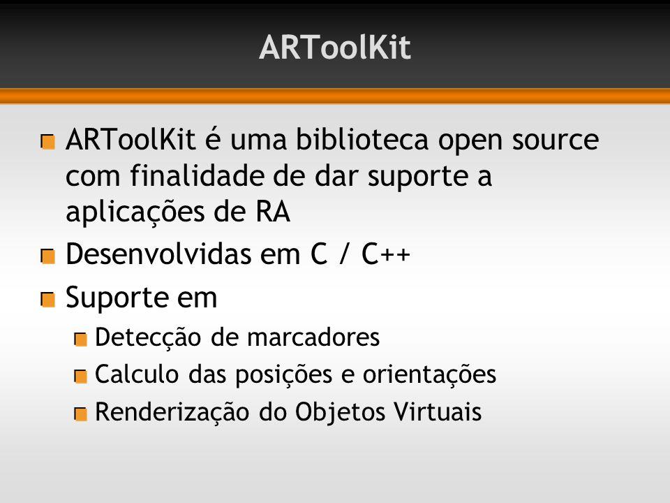 ARToolKit ARToolKit é uma biblioteca open source com finalidade de dar suporte a aplicações de RA. Desenvolvidas em C / C++