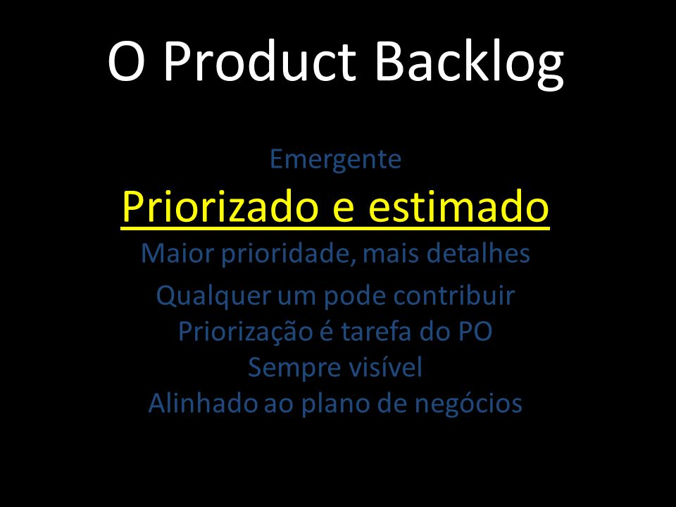 O Product Backlog Priorizado e estimado Emergente