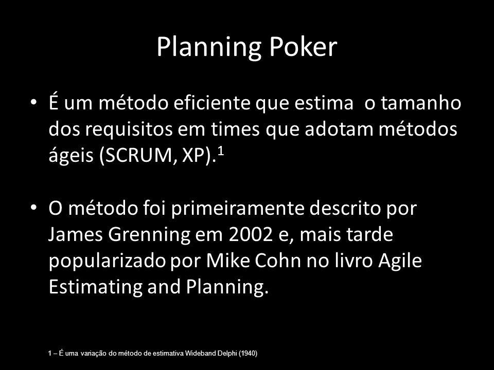 Planning Poker É um método eficiente que estima o tamanho dos requisitos em times que adotam métodos ágeis (SCRUM, XP).1.