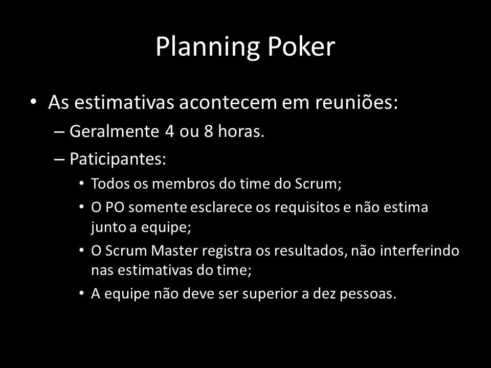 Planning Poker As estimativas acontecem em reuniões: