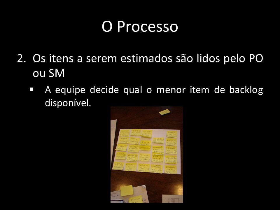 O Processo Os itens a serem estimados são lidos pelo PO ou SM
