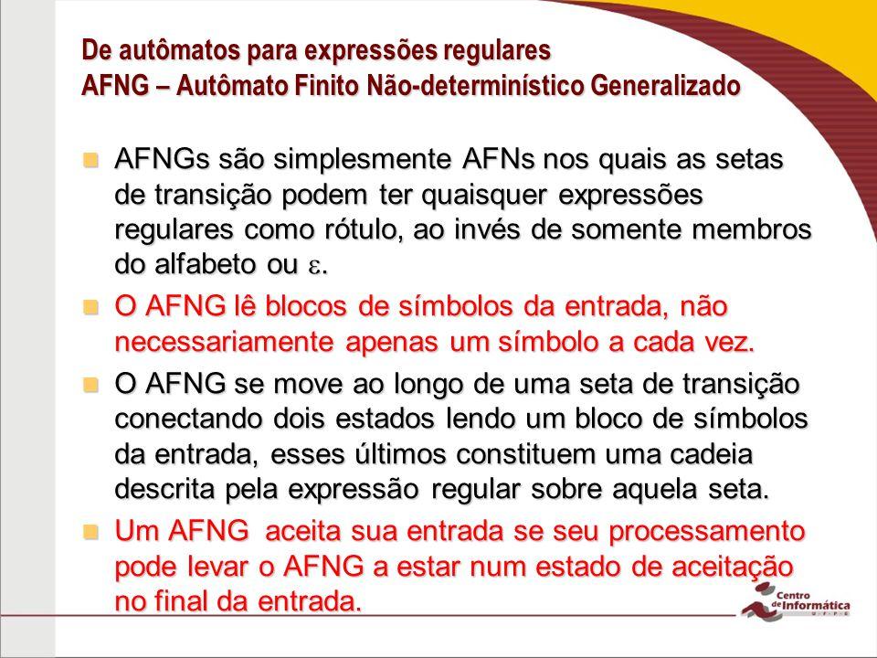 De autômatos para expressões regulares AFNG – Autômato Finito Não-determinístico Generalizado
