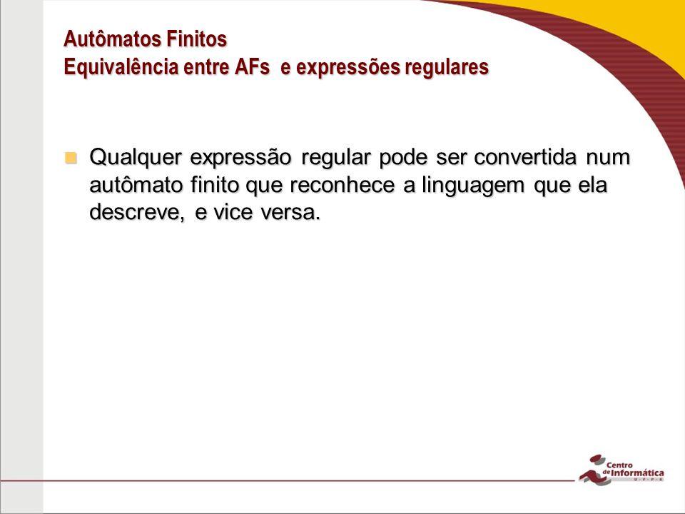 Autômatos Finitos Equivalência entre AFs e expressões regulares