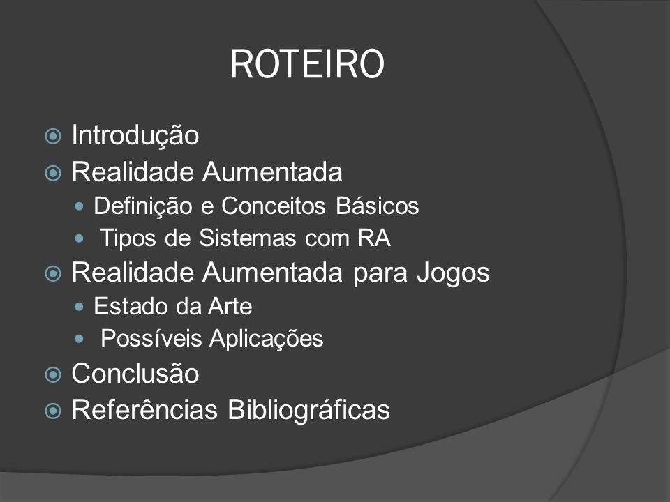 ROTEIRO Introdução Realidade Aumentada Realidade Aumentada para Jogos