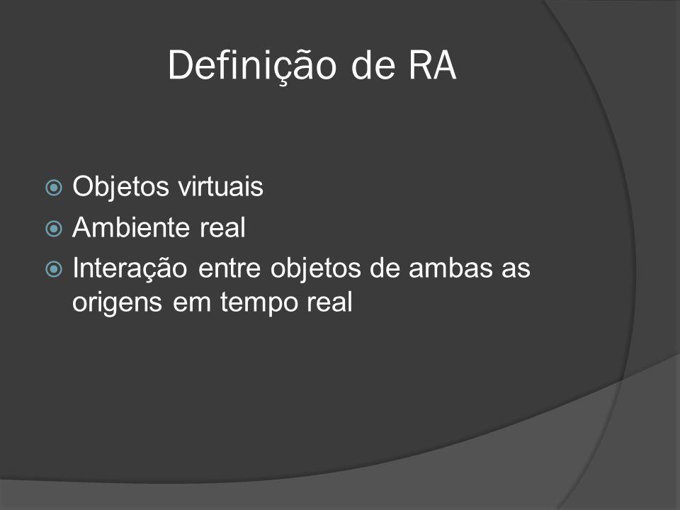 Definição de RA Objetos virtuais Ambiente real
