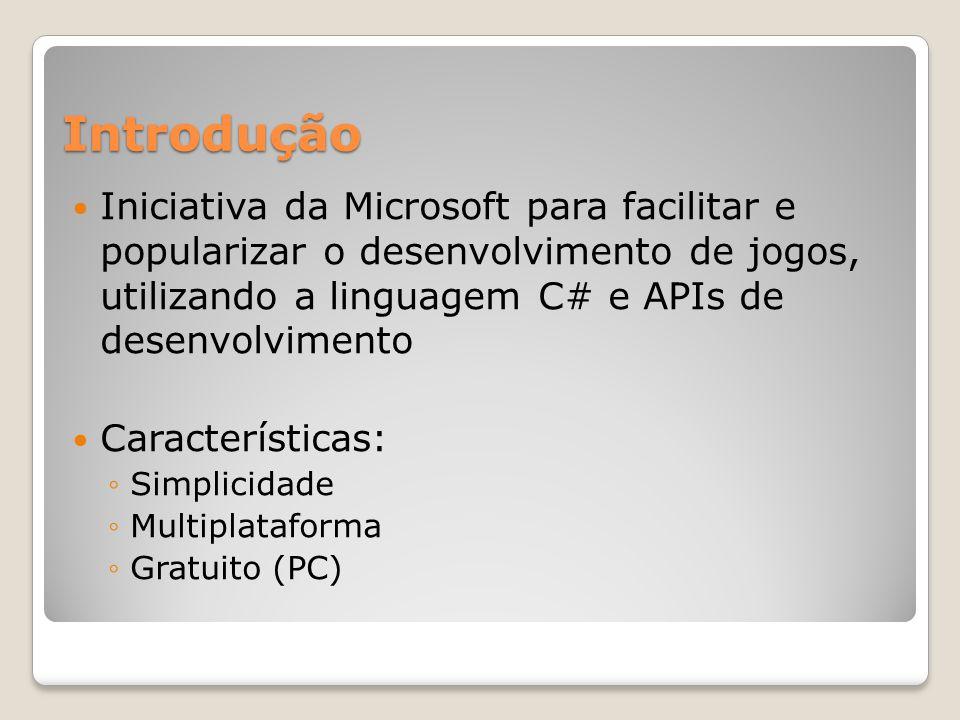 Introdução Iniciativa da Microsoft para facilitar e popularizar o desenvolvimento de jogos, utilizando a linguagem C# e APIs de desenvolvimento.