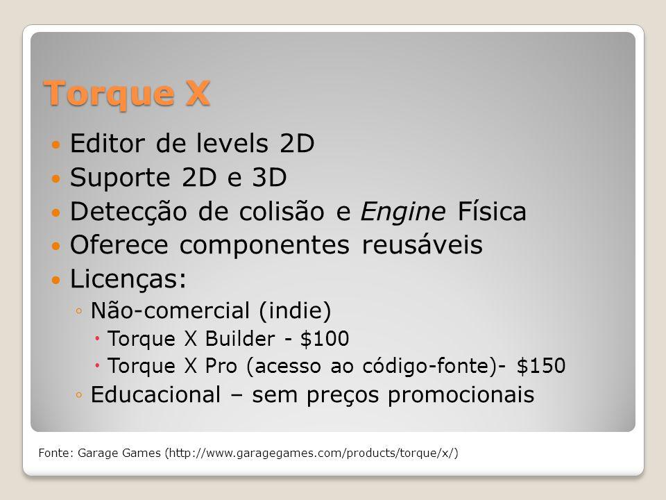 Torque X Editor de levels 2D Suporte 2D e 3D