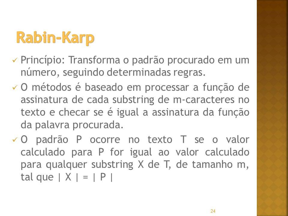 Rabin-Karp Princípio: Transforma o padrão procurado em um número, seguindo determinadas regras.