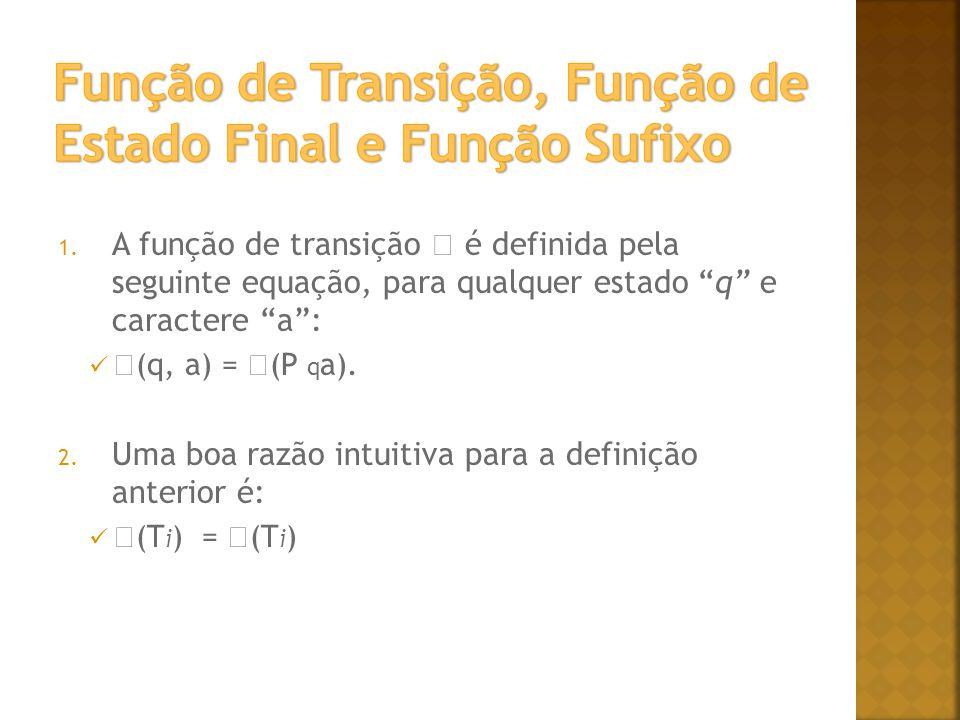 Função de Transição, Função de Estado Final e Função Sufixo