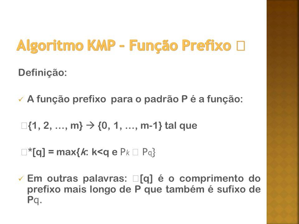 Algoritmo KMP – Função Prefixo 