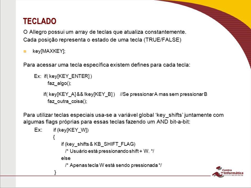 TECLADO O Allegro possui um array de teclas que atualiza constantemente. Cada posição representa o estado de uma tecla (TRUE/FALSE)