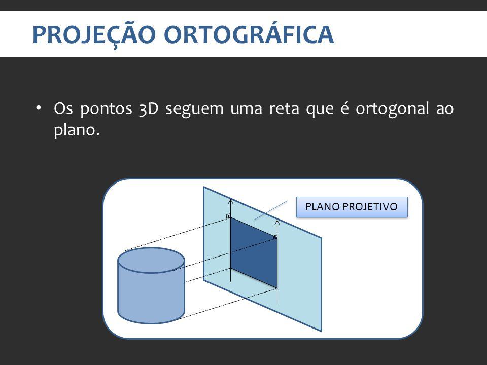 PROJEÇÃO ORTOGRÁFICA Os pontos 3D seguem uma reta que é ortogonal ao plano. PLANO PROJETIVO