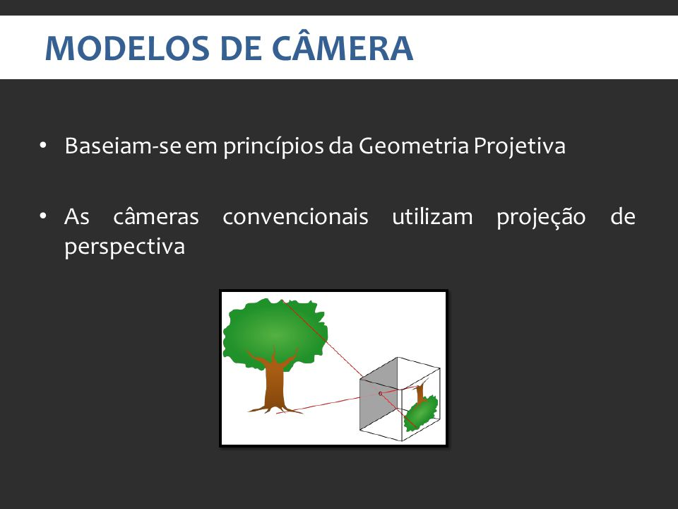 MODELOS DE CÂMERA Baseiam-se em princípios da Geometria Projetiva