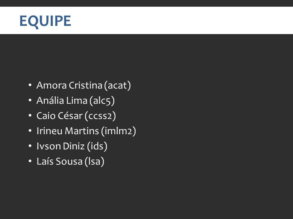 EQUIPE Amora Cristina (acat) Anália Lima (alc5) Caio César (ccss2)