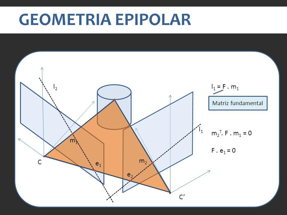 GEOMETRIA EPIPOLAR l2 l1 = F . m1 l1 m2T. F . m1 = 0 m1 F . e1 = 0 m2