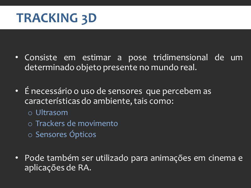 TRACKING 3D Consiste em estimar a pose tridimensional de um determinado objeto presente no mundo real.