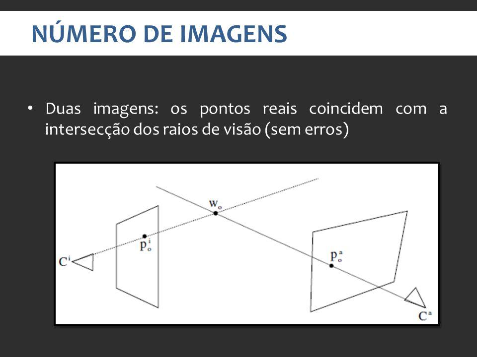 NÚMERO DE IMAGENS Duas imagens: os pontos reais coincidem com a intersecção dos raios de visão (sem erros)