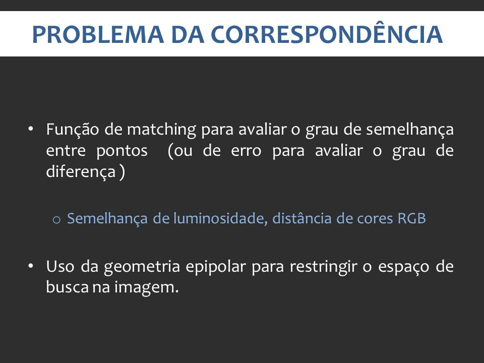 PROBLEMA DA CORRESPONDÊNCIA