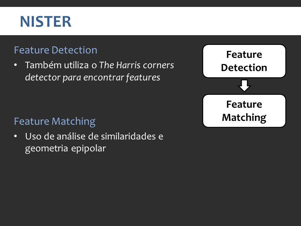 NISTER Feature Detection Feature Detection Feature Matching