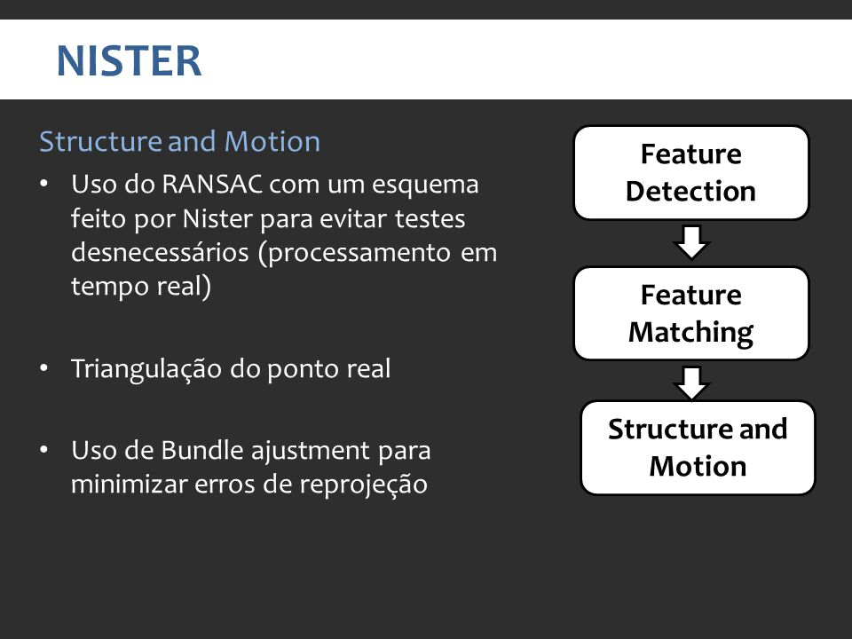 NISTER Structure and Motion Feature Detection Feature Matching